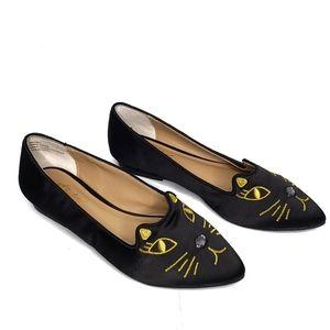 THALIA SODI Freeda Black & Gold Cat Flats